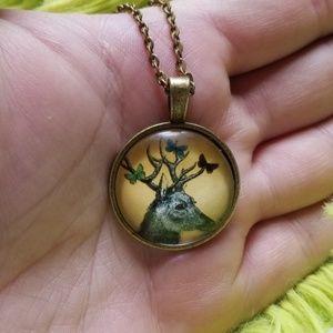 Boho Deer Butterflies on Antlers Pendant Necklace
